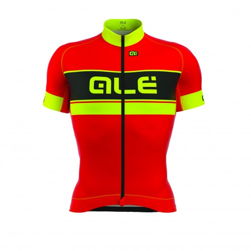 ALÉ PRR Bermuda Short Sleeve Jersey Red/Fluo Yellow