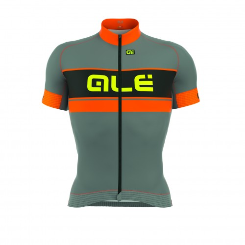 ALÉ PRR Bermuda Short Sleeve Jersey Grey/Fluo Orange