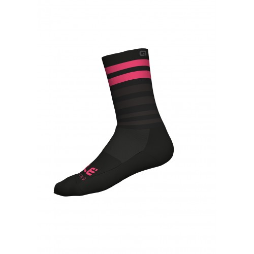 ALÉ Cycling Linea Speed Fondo Socks Q-Skin 16cm - Black/Pink