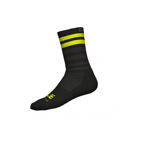 ALÉ Cycling Linea Speed Fondo Socks Q-Skin 16cm - Black/Yellow